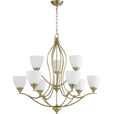 Flora Fall 9-Light Shaded Chandelier Finish: Aged Brass