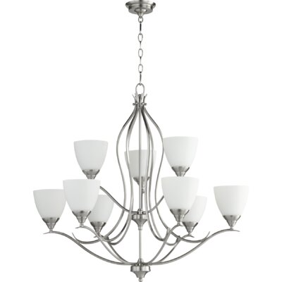 Harnois 9-Light Shaded Chandelier Finish: Satin Nickel