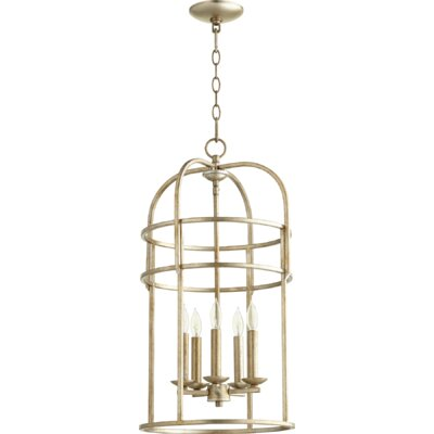 Toque Entry 5-Light Foyer Pendant Finish: Aged Silver Leaf