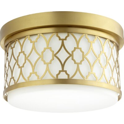 Geometric 2-Light Flush Mount Finish: Aged Brass