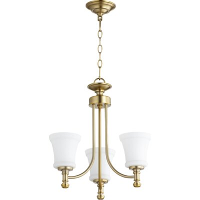 Rossington 3-Light Shaded Chandelier Finish: Aged Brass