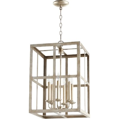 Cuboid II Entry 6-Light Foyer Pendant Finish: Aged Silver Leaf