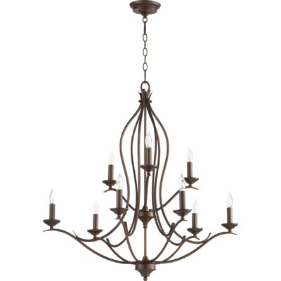 Flora Fall 9-Light Candle-Style Chandelier Finish: Oiled Bronze