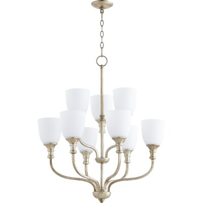 Richmond 9-Light Shaded Chandelier Finish: Aged Silver Leaf