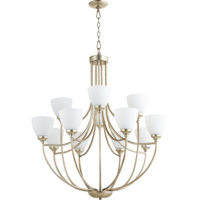 Enclave 12-Light Shaded Chandelier Finish: Aged Silver Leaf