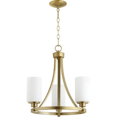 Lancaster 3-Light Shaded Chandelier Finish: Aged Brass