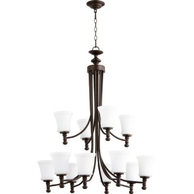 Rossington 12-Light Shaded Chandelier Finish: Oiled Bronze