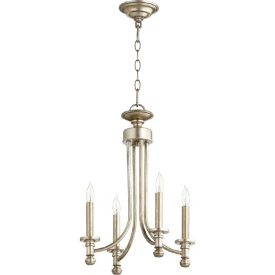 Rossington 4-Light Candle-Style Chandelier Finish: Aged Silver Leaf
