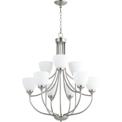 Enclave 9-Light Shaded Chandelier Finish: Satin Nickel