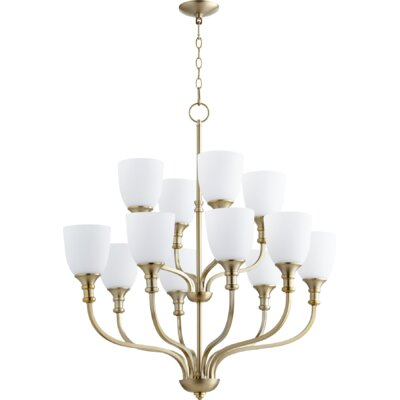 Falbo 12-Light Candle-Style Chandelier Finish: Aged Silver Leaf, Shade Color: White