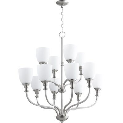 Richmond 12-Light Shaded Chandelier Finish: Satin Nickel