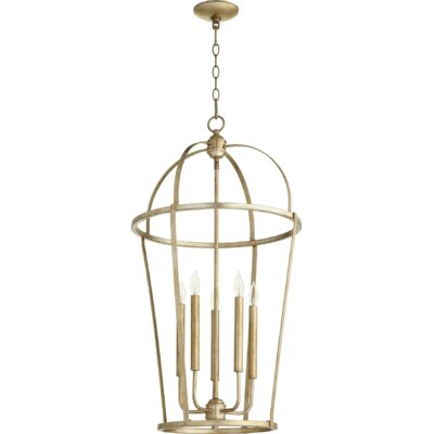 Mitre Entry 5-Light Foyer Pendant Finish: Aged Silver Leaf