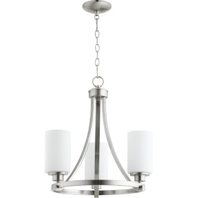 Lancaster 3-Light Shaded Chandelier Finish: Satin Nickel