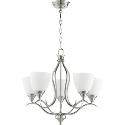 Flora Fall 5-Light Shaded Chandelier Finish: Satin Nickel