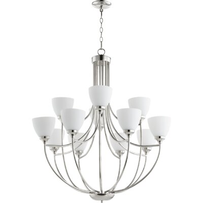 Enclave 12-Light Shaded Chandelier Finish: Polished Nickel