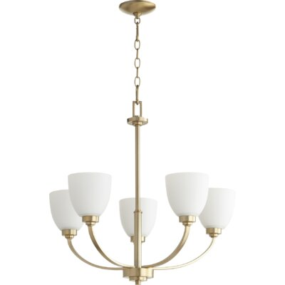 Reyes 5-Light Shaded Chandelier Finish: Aged Brass