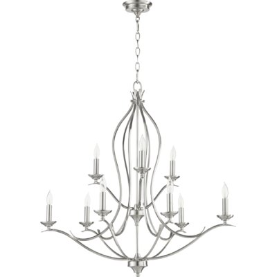 Flora Fall 9-Light Candle-Style Chandelier Finish: Satin Nickel