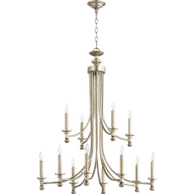 Rossington 12-Light Candle-Style Chandelier Finish: Aged Silver Leaf
