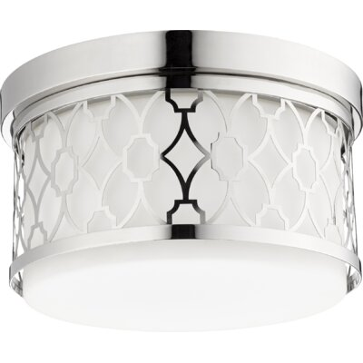 Geometric 2-Light Flush Mount Finish: Polished Nickel