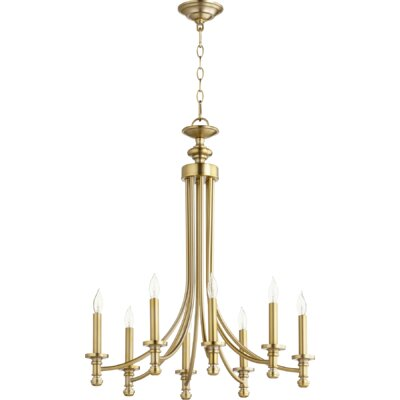 Rossington 8-Light Candle-Style Chandelier Finish: Aged Brass