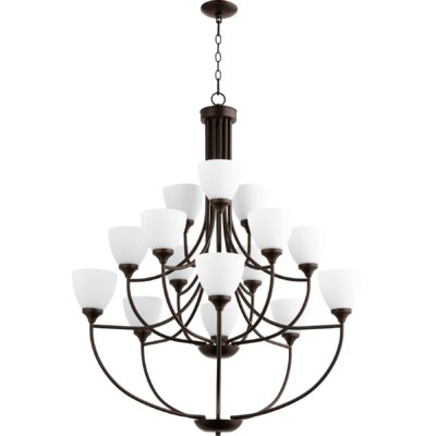 Enclave 15-Light Shaded Chandelier Finish: Oiled Bronze