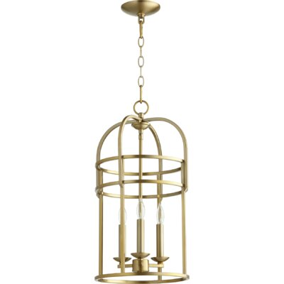 Toque Entry 3-Light Foyer Pendant Finish: Aged Brass