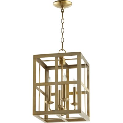 Cuboid II Entry 4-Light Foyer Pendant Finish: Aged Brass