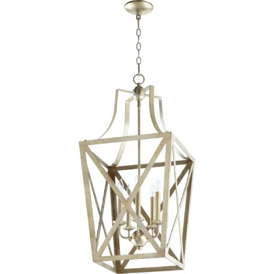 Trap Entry 5-Light Foyer Pendant Finish: Aged Silver Leaf