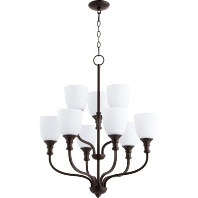 Falbo 9-Light Shaded Chandelier Finish: Oiled Bronze