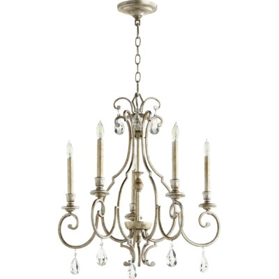 Ansley 5-Light Candle-Style Chandelier Finish: Aged Silver Leaf