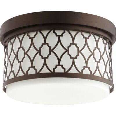Geometric 2-Light Flush Mount Finish: Oiled Bronze