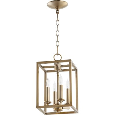Cuboid Entry 4-Light Foyer Pendant Finish: Aged Brass, Size: 17 H x 11 W x 11 D