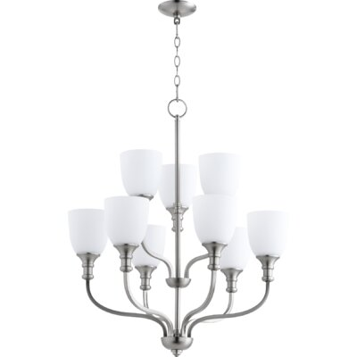 Falbo 9-Light Shaded Chandelier Finish: Satin Nickel
