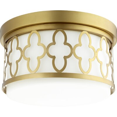 Quatrefoil 2-Light Flush Mount Finish: Aged Brass