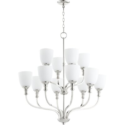 Richmond 12-Light Shaded Chandelier Finish: Polished Nickel