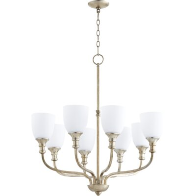 Richmond 8-Light Shaded Chandelier Finish: Aged Silver Leaf