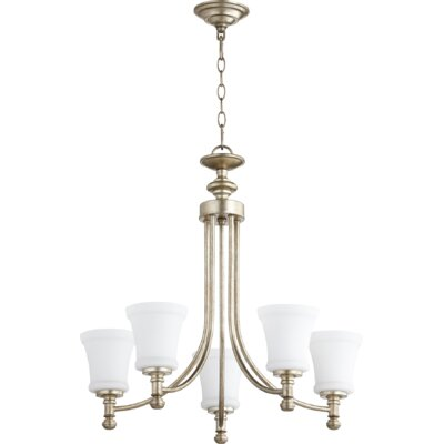 Rossington 5-Light Shaded Chandelier Finish: Aged Silver Leaf