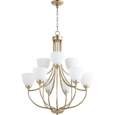Enclave 9-Light Shaded Chandelier Finish: Aged Silver Leaf