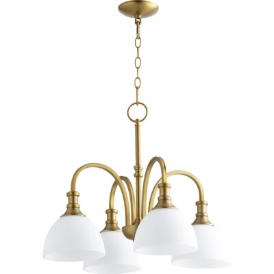 Richmond 4-Light Shaded Chandelier Finish: Aged Brass