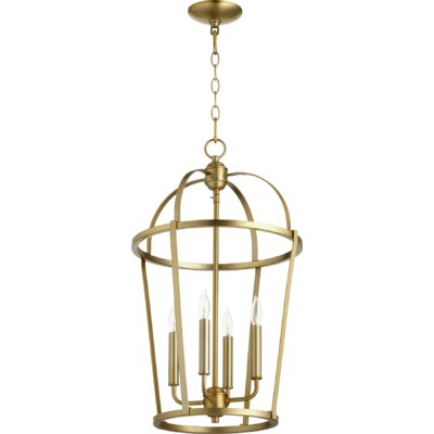 Mitre Entry 4-Light Foyer Pendant Finish: Aged Brass