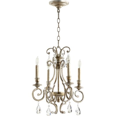 Ansley 4-Light Candle-Style Chandelier Finish: Aged Silver Leaf