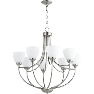 Enclave 8-Light Shaded Chandelier Finish: Satin Nickel