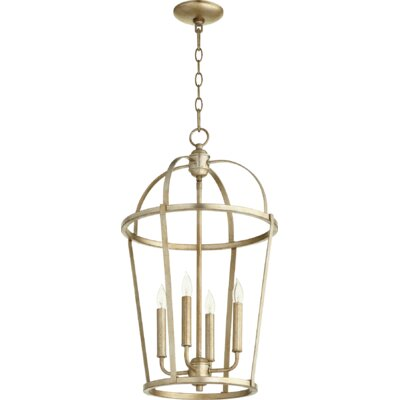 Mitre Entry 4-Light Foyer Pendant Finish: Aged Silver Leaf