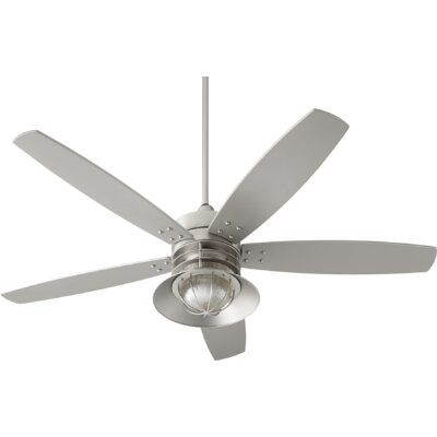 60 Portico 5 Blade Ceiling Fan Finish: Satin Nickel with Silver Blades