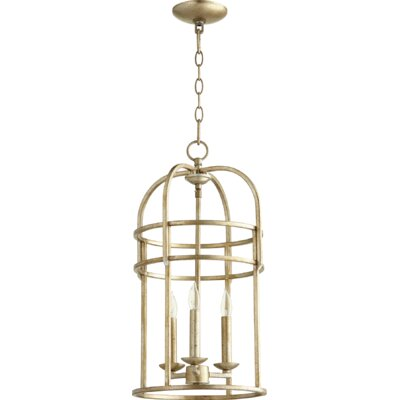 Toque Entry 3-Light Foyer Pendant Finish: Aged Silver Leaf