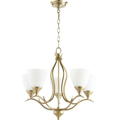 Flora Fall 5-Light Shaded Chandelier Finish: Aged Brass