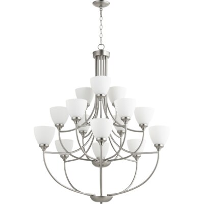 Enclave 15-Light Shaded Chandelier Finish: Satin Nickel