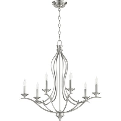 Flora Fall 6-Light Candle-Style Chandelier Finish: Satin Nickel
