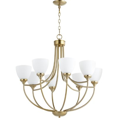 Enclave 8-Light Shaded Chandelier Finish: Aged Brass