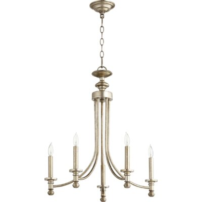Rossington 5-Light Candle-Style Chandelier Finish: Aged Silver Leaf